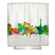 San Antonio Skyline Watercolor Shower Curtain