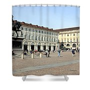 San Carlo Square In Turin Shower Curtain