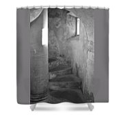 San Christobal Staircase- Black And White Shower Curtain