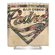San Diego Padres Poster Vintage Shower Curtain