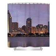 San Diego Skyline At Dusk Panoramic Shower Curtain by Adam Romanowicz