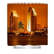 San Diego Skyline At Night Along San Diego Bay Shower Curtain