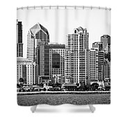 San Diego Skyline In Black And White Shower Curtain