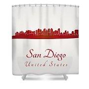 San Diego Skyline In Red Shower Curtain