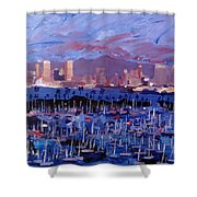San Diego Skyline With Marina At Dusk Shower Curtain