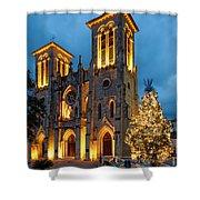 San Fernando Cathedral And Christmas Tree Main Plaza - San Antonio Texas Shower Curtain
