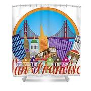 San Francisco Abstract Skyline Golden Gate Bridge Illustration Shower Curtain