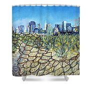 San Francisco And Flowery Vagabond Path Of Yesterday Shower Curtain