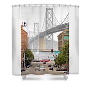 San Francisco Bay Bridge And Bay Quackers Shower Curtain