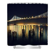 San Francisco Bay Bridge Illuminated Shower Curtain