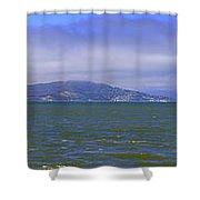 San Francisco Bay Golden Gate Bridge    Alcatraz Panorama Shower Curtain