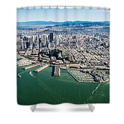 San Francisco Bay Piers Aloft Shower Curtain