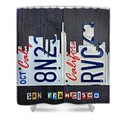 San Francisco California Skyline License Plate Art Shower Curtain
