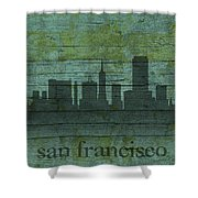 San Francisco California Skyline Silhouette Distressed On Worn Peeling Wood Shower Curtain