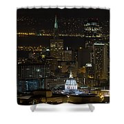 San Francisco Cityscape With City Hall At Night Shower Curtain