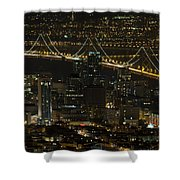 San Francisco Cityscape With Oakland Bay Bridge At Night Shower Curtain