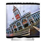 San Francisco Ferry Building Giants Decorations. Shower Curtain