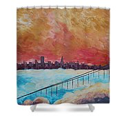 San Francisco Golden Gate Bridge In The Clouds Shower Curtain