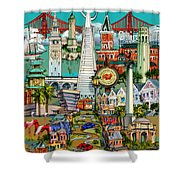 San Francisco Illustration Shower Curtain