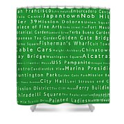 San Francisco In Words Green Shower Curtain