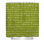 San Francisco In Words Olive Shower Curtain