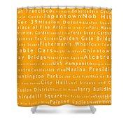 San Francisco In Words Orange Shower Curtain