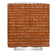 San Francisco In Words Toffee Shower Curtain