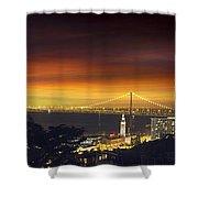 San Francisco Oakland Bay Bridge At Sunset Shower Curtain