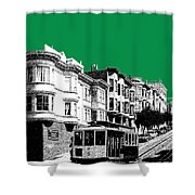 San Francisco Skyline Cable Car 2 - Forest Green Shower Curtain