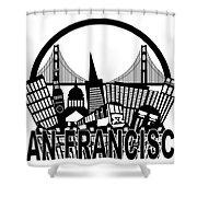 San Francisco Skyline Golden Gate Bridge Black And White Illustr Shower Curtain