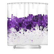 San Francisco Skyline In Purple Watercolor On White Background Shower Curtain