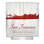 San Francisco Skyline In Red Shower Curtain