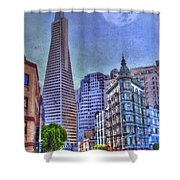 San Francisco Transamerica Pyramid And Columbus Tower View From North Beach Shower Curtain