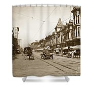 94-095-0001 Early Knox Automobile First Street San Jose California Circa 1905 Shower Curtain