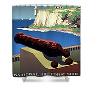 San Juan National Historic Site Vintage Poster Shower Curtain