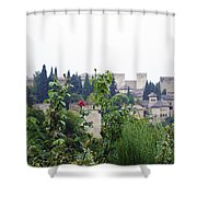 San Nicolas View Of The Alhambra On A Rainy Day - Granada - Spain - Spain Shower Curtain