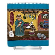 San Pascuals Kitchen Shower Curtain by Victoria De Almeida