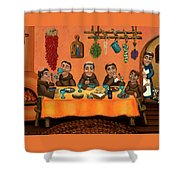 San Pascuals Table Shower Curtain by Victoria De Almeida