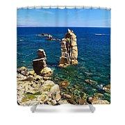San Pietro Island - Le Colonne Cliff Shower Curtain