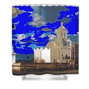 San Xavier Mission Brooding Clouds Post Card Ray Manley  Photo No Date-2013  Shower Curtain