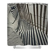 Sand Fence During Winter On The Beach Shower Curtain