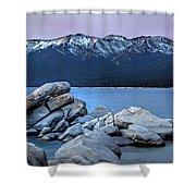 Sand Harbor Rocks Shower Curtain