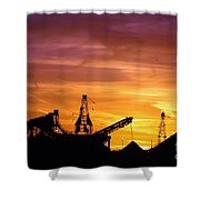 Sand Pit Silhouette  Sunset With Red And Yellow Sky Shower Curtain
