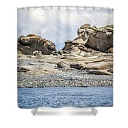 Sandstone Island Sculptures Shower Curtain