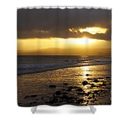 Sandy Bay At Dusk Shower Curtain