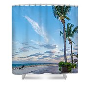 Sandy Beach And Beautiful Clouds  Shower Curtain
