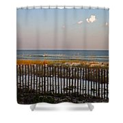 Sandy Beach And Three Tiny Clouds Shower Curtain
