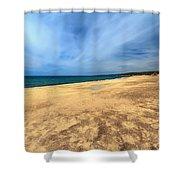 sandy beach in Piscinas Shower Curtain