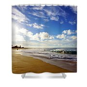 Sandy Beach Morning Rainbow Shower Curtain
