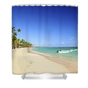 Sandy Beach On Caribbean Resort  Shower Curtain
